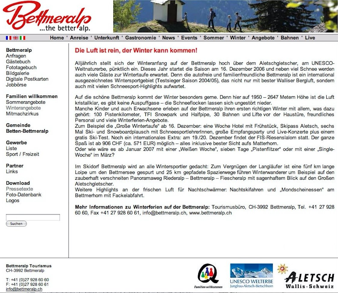 Pressetext Winter Bettmeralp Tourismus